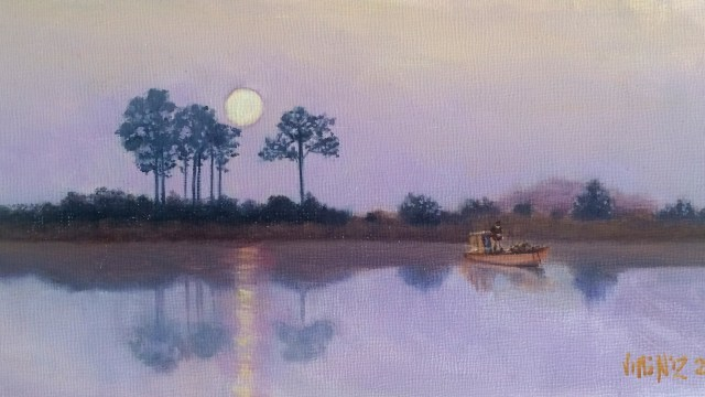 Moonlight fishing 4 X 8 oil on panel