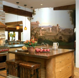Mural with a Tuscany Landscape and a mediterranean kitchen