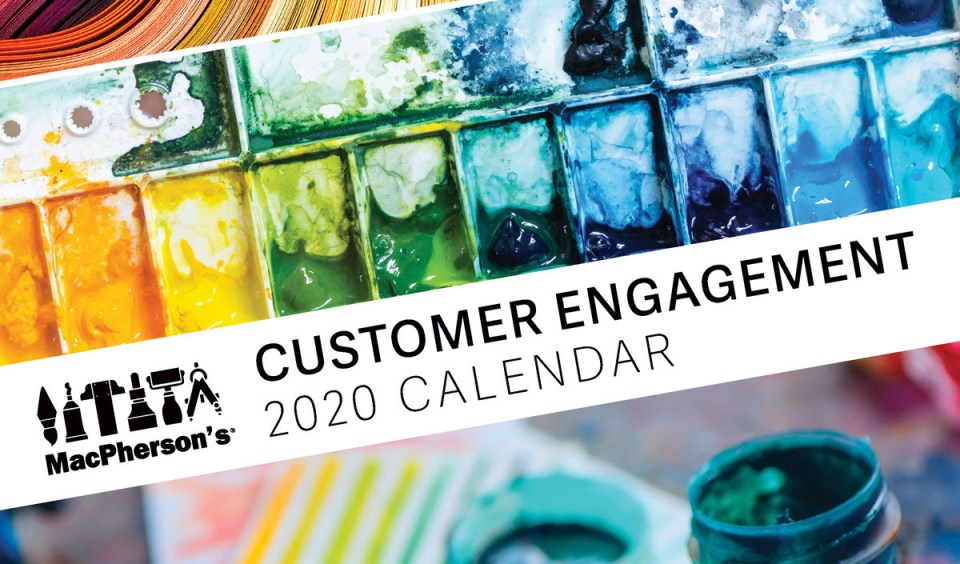 Customer Engagement Calendar from MacPherson's, featuring creative days of the year for art supply retailers and manufacturers of creative materials to promote product and creative experiences