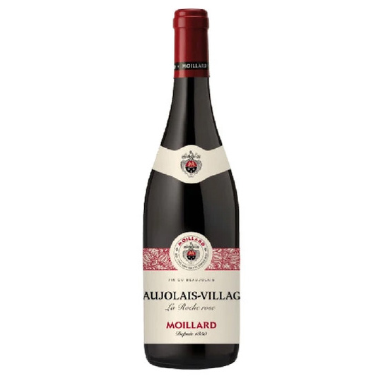Moillard Beaujolais Villages. Colour: Wonderful deep red colour.Nose: Intense nose dominated by red berries.Palate: Fruity, subtle and lively wine.
