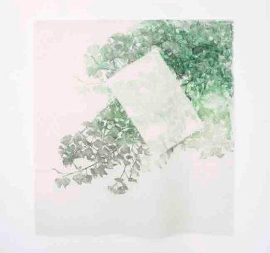 HISHIKI Asako, I tempi nei simbiosi armoniche #1, 2015, Xilografia su tessuto, 110x101cm