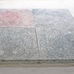 Asako Hishiki, Shiki-Matsuba (I aghi di pino estesi, il silenzio del giardino), 2015, xilografia su tessuto, plexiglass, cm 150x150