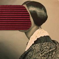 Deborah Ieranò, Esaminando tra le righe, 2016, acrilico, olio e applicazione di tessuto su tela, cm 35x35