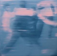 Ettore Pinelli, Blurring motion (rose light), 2016, olio su tela, cm 49x49