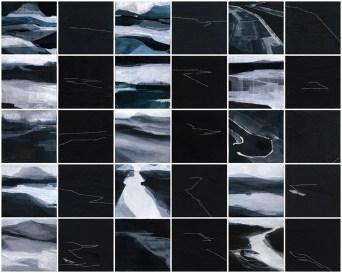 Adua Martina Rosarno, Note di Viaggio (introspettivo), 2014, acrilico acquerellato e tessiture su tela, cm 60x70
