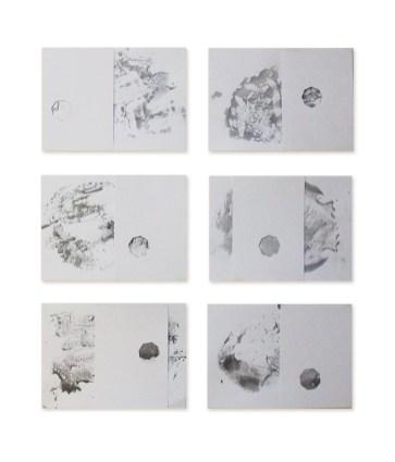 Thomas Scalco, Focale, 2016, acrilico e collage su carta, 6 fogli, cm 20,9x29,7 cad.
