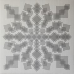 Manuela Toselli, Morbide geometrie accompagnano le linee rigide del mio pensiero #17, 2016, organza di seta cucita su shantung di seta, cm 80x80