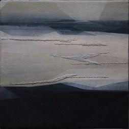 Riprese #01, 2016, cm 20x20, acrilico acquerellato e tessiture su tela