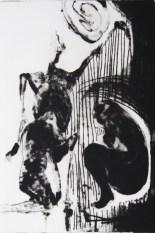 Vida, Muerte, Regeneración, 2014, cm 24,5x47, carborundum, puntasecca su lastra in plexiglass