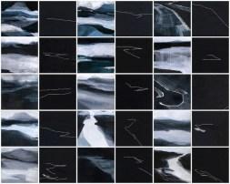 Note di viaggio introspettivo, 2014, cm 70x60, acrilico acquerellato e tessiture su tela