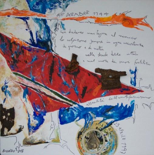 Visione, Comandante (omaggio a Giovanni Pesce), 2016, cm 80x80x6, acrilico, ferro, gomma e plastica combusta su tela