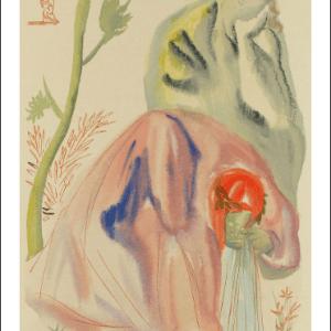 Salvador Dali Woodcut, The source - Purgatory 21