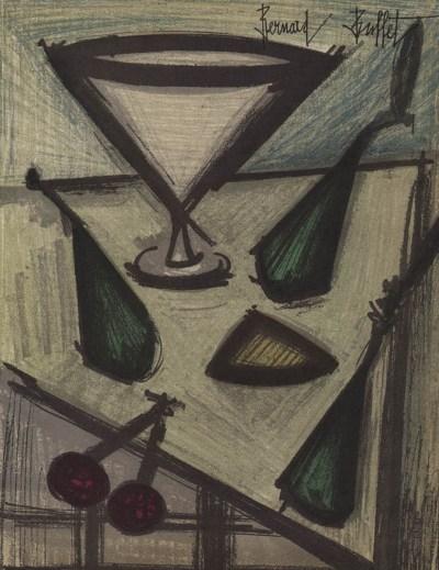 """Bernard Buffet """"Still life with fruits"""" Original Lithograph 1968"""