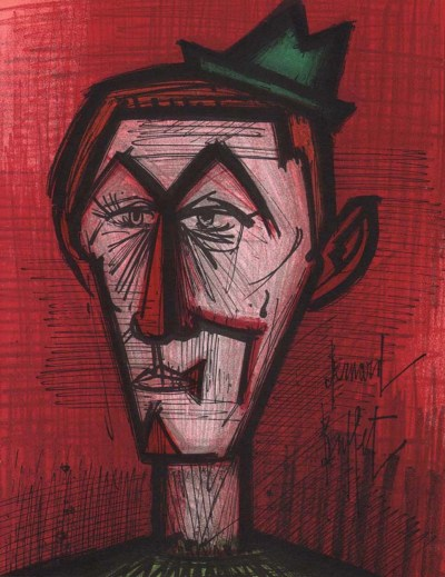 "Bernard Buffet ""The clown on red background"" Original Lithograph 1968"