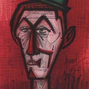 Bernard Buffet, The clown on red background, Original Lithograph, Mourlot 1967