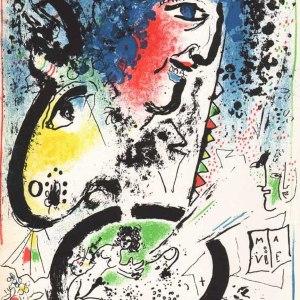Chagall Lithograph, Auto portrait, Mourlot 1960