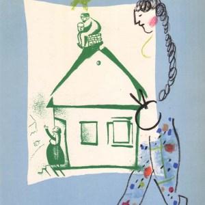1960 Chagall Lithograph, La maison de mon village