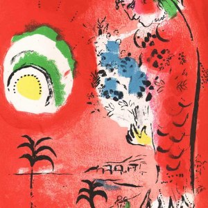 1960 Chagall Lithograph Les baies des anges