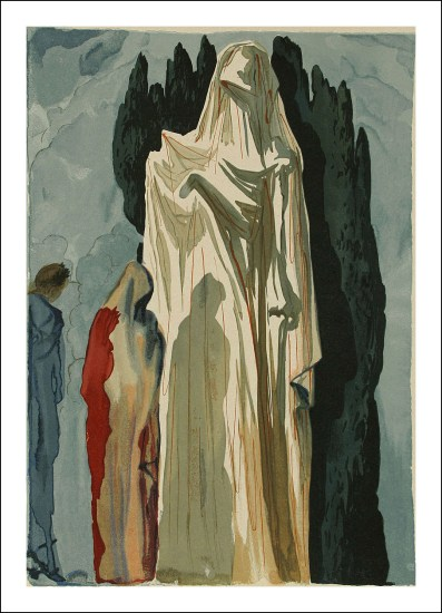 """Salvador Dali Woodcut """"Hell 10 -The heretics"""" suite Divine Comedy"""