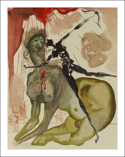 "Dali Woodcut ""Hell 12 - The minotaur"" suite Divine Comedy"