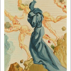 "Dali Woodcut ""Hell 15 -The hard margins"" suite Divine Comedy"