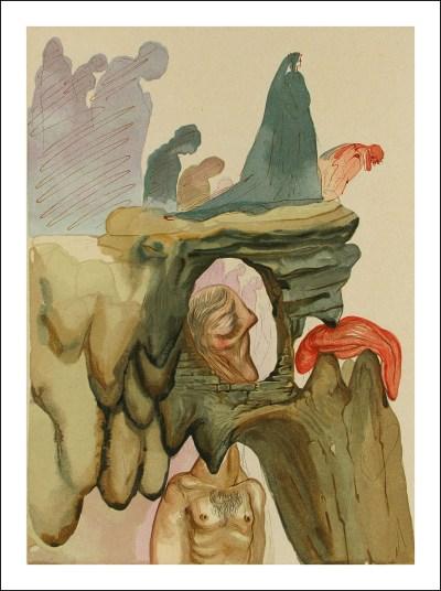 "Dali Woodcut ""Hell 22 - The prevaricators"" suite Divine Comedy"