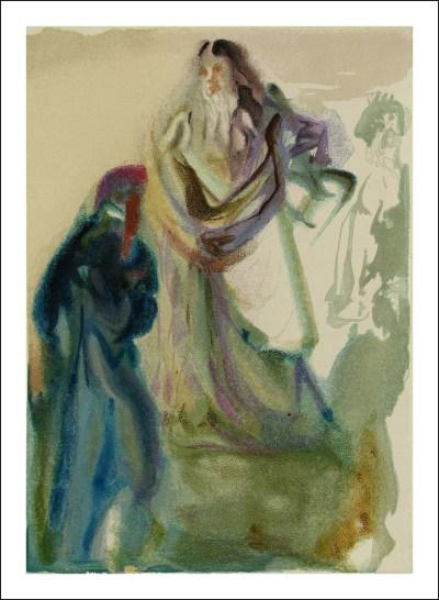 "Dali Woodcut ""Paradise 28 -The walk toward god"" Divine Comedy"