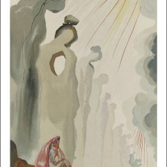 "Dali Woodcut ""Purgatory 13 -The second terrace"" suite Divine Comedy"