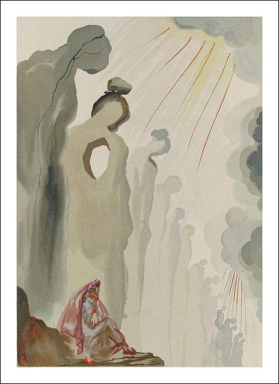 "Dali Woodcut ""Purgatory 13 -The second terrace"" suite Divine Comedy"