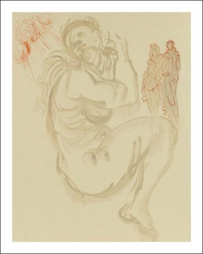 """Dali Woodcut """"Purgatory 19 -Dante's dream"""" suite Divine Comedy"""