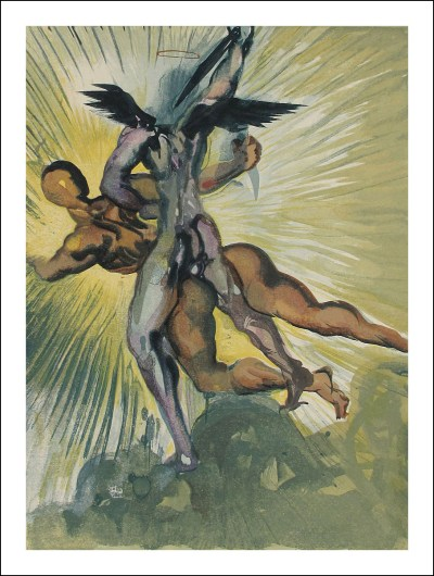 """Salvador Dali Woodcut """"Purgatory 8 -The guardian angels of the valley"""" Divine Comedy"""
