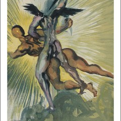 "Salvador Dali Woodcut ""Purgatory 8 -The guardian angels of the valley"" Divine Comedy"