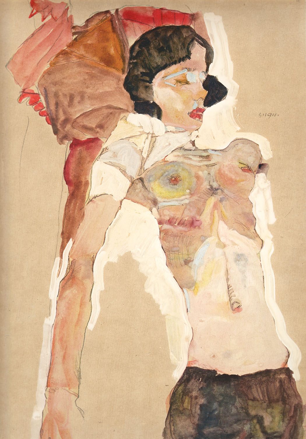 Schiele 16, Lithograph, Girl Reclining, 1968