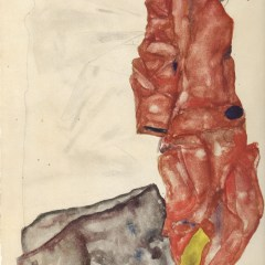 "Schiele Egon, 29, Lithograph, ""Self portrait as prisoner"" printed 1968"