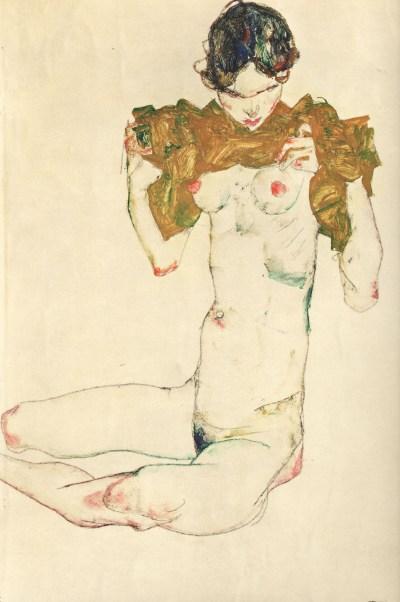 "Schiele Egon, Lithograph, ""The Virgin"" 33 printed 1968"