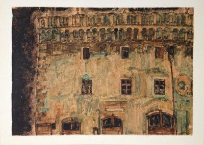 """Schiele Egon, 14, Lithograph """"Krumau Town"""" printed 1968"""