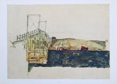 "Schiele Egon, 32, Lithograph, ""The Bridge"" printed 1968"