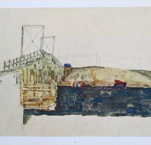 Egon Schiele Lithograph 32, The Bridge, 1968