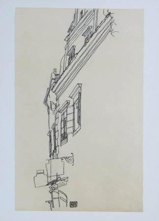 """Schiele Egon, 53, Lithograph, """"Gabled Houses at Krumau"""" 1968"""