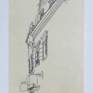 Schiele Lithograph 53, Gabled Houses at Krumau