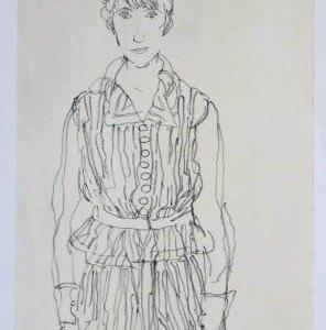 Schiele Lithograph 49, Portrait of Edith Schiele
