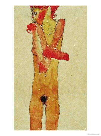 Schiele Lithograph 2, Nude Girl w Crossed Arms