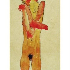 "Egon Schiele 2, Lithograph,""Nude Girl with Crossed Arms"" 1968"