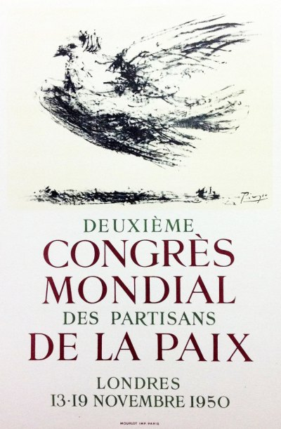 """Picasso 62 Lithograph """"Congress mondial""""1959 Mourlot Art in posters"""