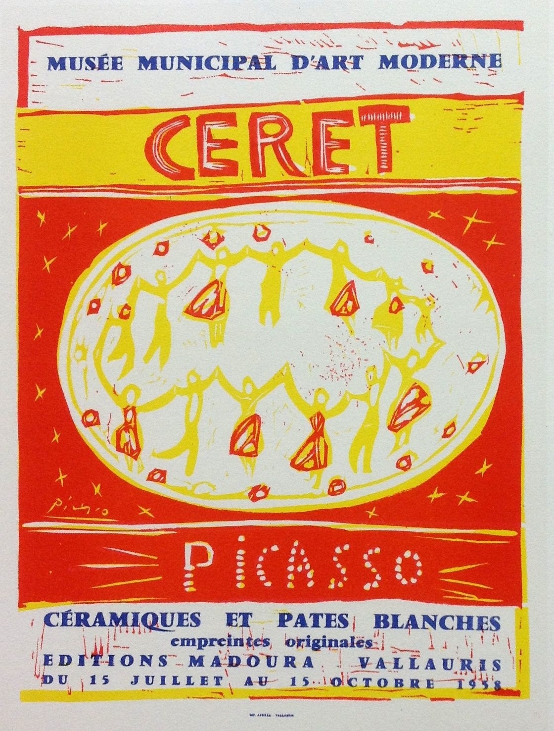 """Picasso 92 Lithograph """"Ceret"""" printed 1959 by Mourlot, Art in posters"""
