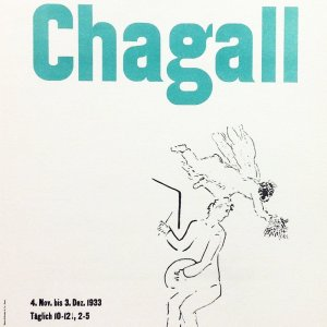 Marc Chagall 13, lithograph Kunsthalle Basel, Art in posters Mourlot 1959