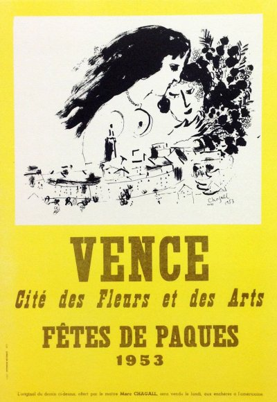 """Chagall 18 """"Vence 953"""" Art in posters Mourlot 1959"""