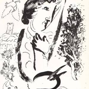 """Chagall Lithograph """"In front of the picture"""" V2 Mourlot 1963"""