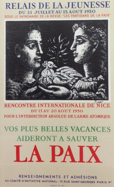 "Picasso 61 Lithograph ""Relais de jeunesse""1959 Mourlot Art in Poster"