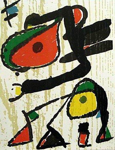 """Miro Woodcut Engraving """"V3-1"""" printed 1984"""